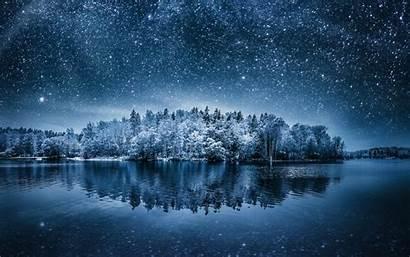 Winter Forest Sky Water Night Wallpapers Desktop