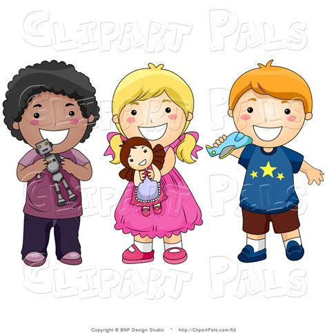 Child Playing with Toys Clip Art
