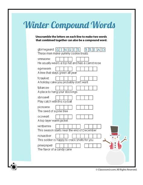 winter compound words vocabulary word scramble worksheet