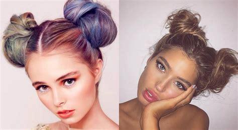 double bun hairstyles 2017 childish and flirty