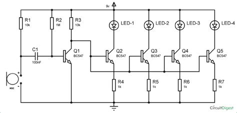 Based Led Music Light Circuit Diagram