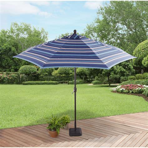 better homes and gardens 9 market umbrella blue stripe