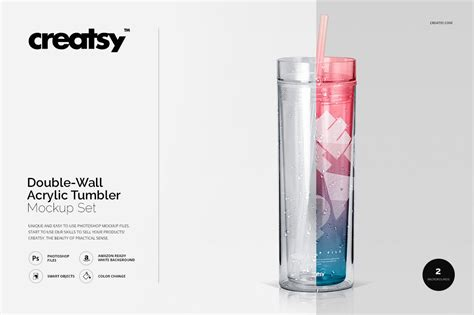 Realistic plastic bottle product mockup. Double-Wall Acrylic Tumbler Mockup | Creative Photoshop ...