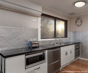 pressed metal splashback installed by the australian With what kind of paint to use on kitchen cabinets for pressed tin wall art