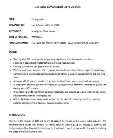 photographer job description samples  examples