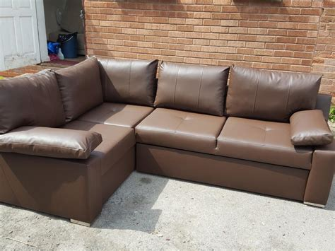 Brand New Brown Leather Corner Sofa Bed With Storage. Can