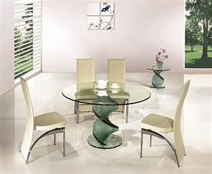 Swirl round glass dining room table and 4 chairs set for Glass dining room sets for 4