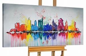 Acrylfarben Auf Holz : modernes gem lde leipzig skyline bunt kaufen kunstloft ~ Orissabook.com Haus und Dekorationen