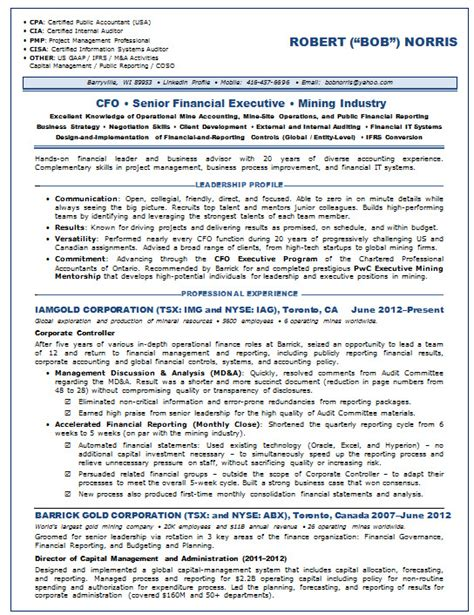 Cfo Cv Template Doc by Resume Sles Chief Financial Officer Cfo Mining