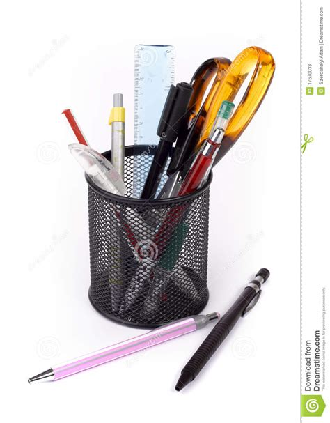 outils de bureau desk organizer with office tools stock photos image