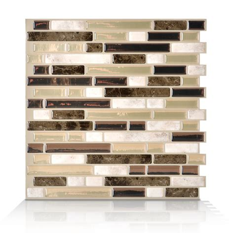 smart tiles peel and stick wall tile shop smart tiles white beige brown composite vinyl