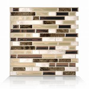 shop smart tiles white beige brown composite vinyl With kitchen cabinets lowes with walmartmoneycard com sticker