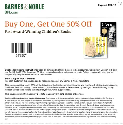 coupons for barnes and noble barnes noble bogo 50 children s books