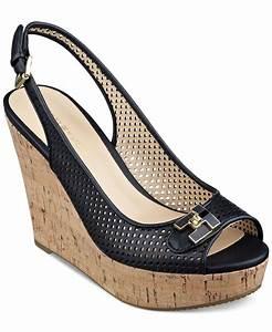 Tommy hilfiger Women's Kaluwa Platform Wedge Sandals in Black Lyst