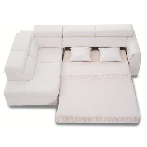 canapé d angle convertible en cuir canapé d 39 angle convertible 3nllg cuir blanc achat