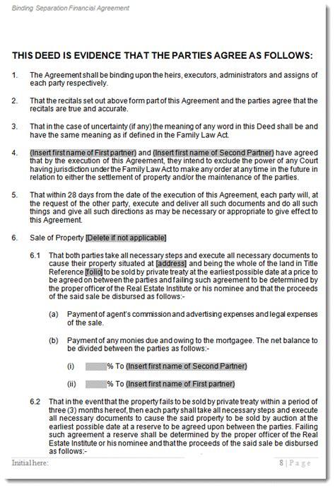 de facto separation agreement template
