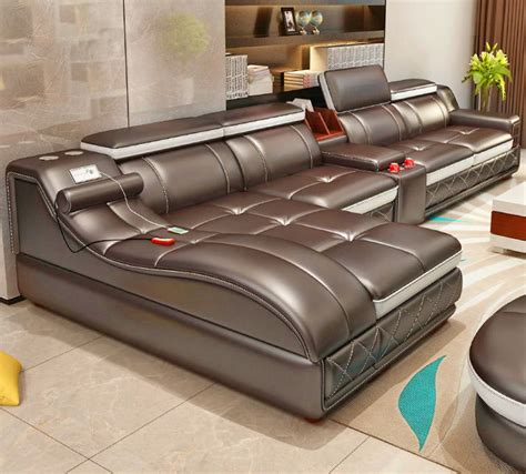 Ultimate Couch: Giant Leather Sectional With Integrated