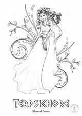 Greek Coloring Mythology Gods Goddesses Muses Muse Nine Greece Illustrated Adult Adults Goddess Thalia Ancient Printable Drawing Couple Teen Teens sketch template