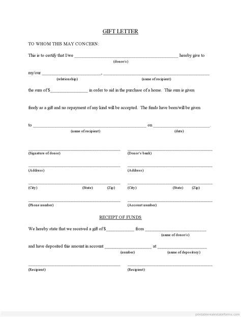 sample printable gift letter  buyer  family member