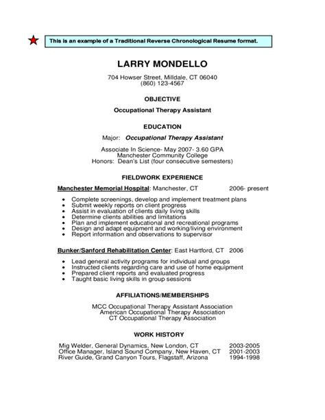 traditional  reverse chronological resume format