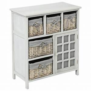 Meuble De Rangement Avec Panier : meuble de rangement 5 paniers 73cm aby blanc ~ Teatrodelosmanantiales.com Idées de Décoration