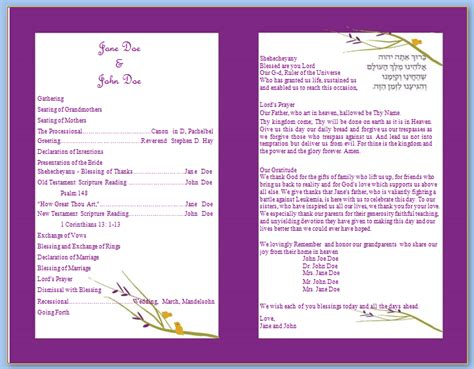 wedding program templates purple bifold wedding template wedding program templates
