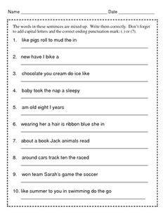 image result for worksheets on jumbled sentences for grade