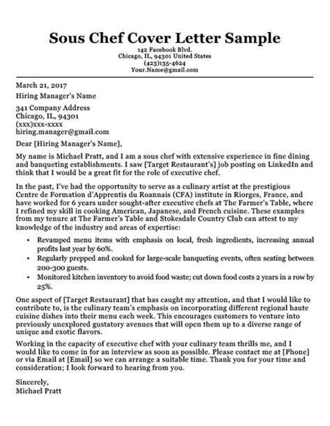 Cover Letter For Chef Application by Chef Cover Letter Sle Writing Tips Resume Companion