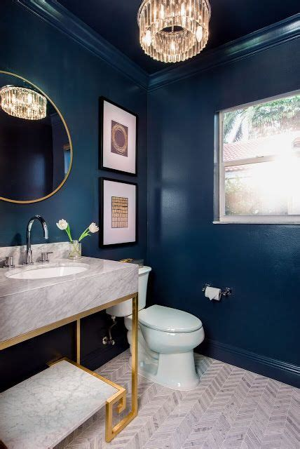 ongoing love affair  navy blue blue powder rooms