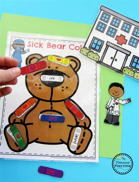community helpers preschool theme planning playtime 373 | Sick Bear Color Matching Bandaids Community Helpers Activity for kids.