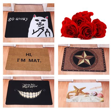 doormat cat creative door mat starfish go away cat rubber floor rug