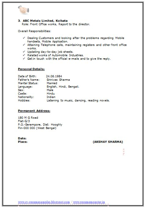 Ma Resume Template 10000 cv and resume sles with free resume format for ma experience