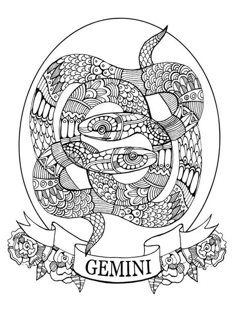 Download Gemini Zodiac Sign Coloring Book For Adults Vector Stock Vector - Illustration