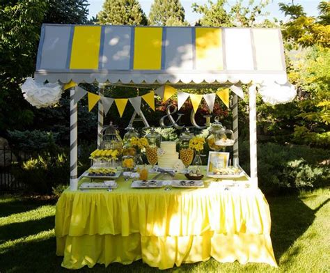 karas party ideas yellow grey gray garden wedding dessert