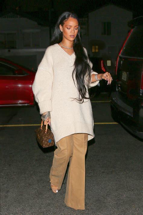 rihannas wears cozy oversize sweater  flare trousers