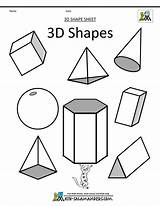 Shapes 3d Geometric Printable Math Coloring Drawing Draw sketch template