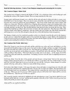 Venn Diagram Of Creation Myths Graphic Organizer For 7th