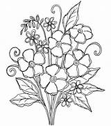 Pretty Coloring Posies Embroidery Patterns Drawing Flowers Joann sketch template