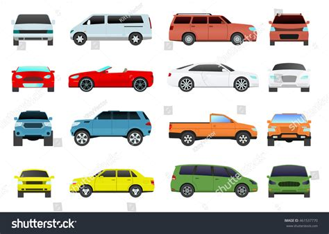 Car Type Model Objects Icons Set Stock Vector 461537770