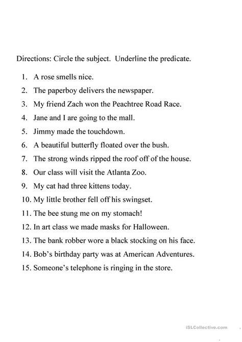 identifying subject  predicate worksheet worksheet