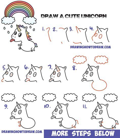 draw  cute kawaii unicorn  tongue