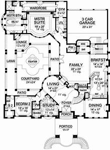Floorplan, With, Courtyard