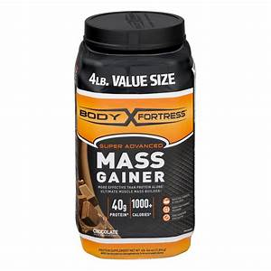 Body Fortress Super Advanced Mass Gainer Protein Powder  Chocolate  40g Protein  4 Lb