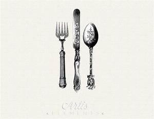 Antique Knife Fork Spoon Silverware Cutlery by ArtisElements
