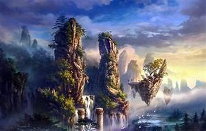 Nature, Landscapes, Fantasy, Art, Paintings, Trees, Forest, Jungle, Magic, Waterfall, Rivers