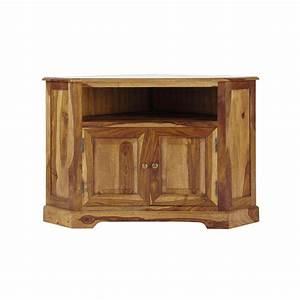 Meuble Angle Bois : meuble tv d 39 angle en bois de sheesham massif l 105 cm ~ Edinachiropracticcenter.com Idées de Décoration