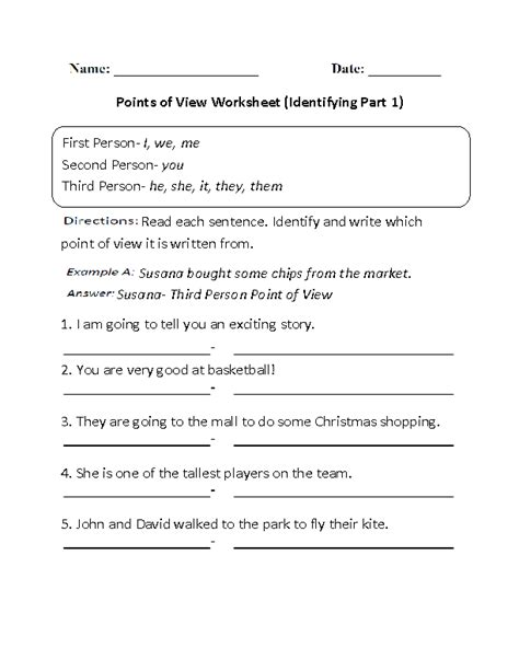 point of view worksheets identifying points of view