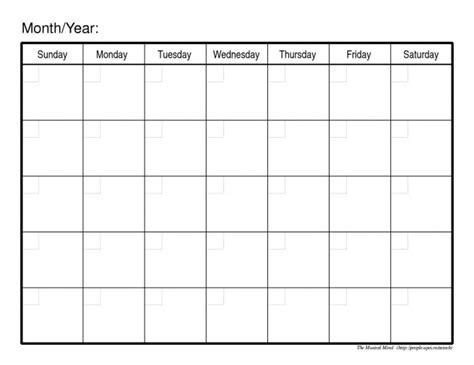 blank calendar print monthly calendar printable