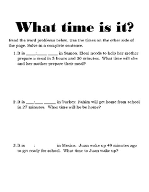 time zone time word problem worksheets by naptime