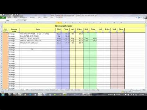excel  recipe costing  inventory linking youtube